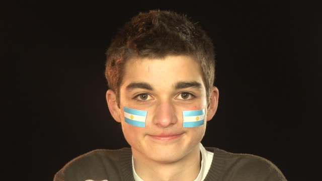 Smiling Patriotic Argentina male - HD & PAL video