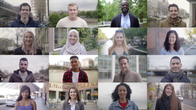 Smiling people around the world 4K color video portrait of 18 different real life persons smiling. Multiple clips. group of people stock videos & royalty-free footage