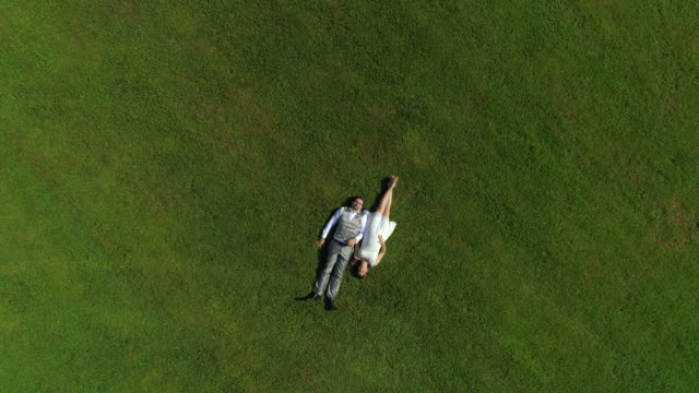 AERIAL TOP DOWN Smiling pregnant couple lying in a green meadow on a sunlit day video