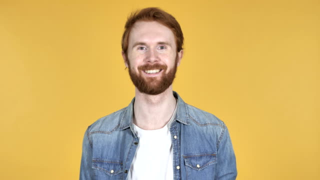 Smiling Redhead Man Isolated on Yellow Background Smiling Redhead Man Isolated on Yellow Background redhead stock videos & royalty-free footage