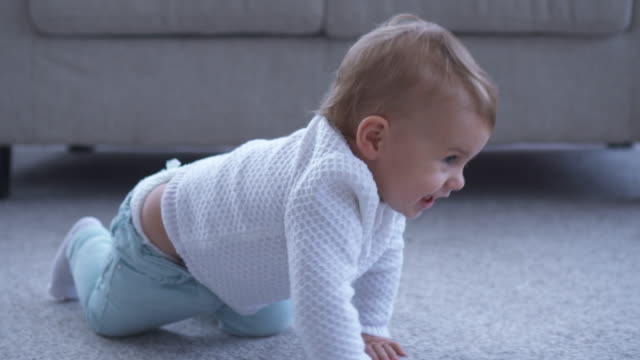 Smiling small girl crawling on the floor video