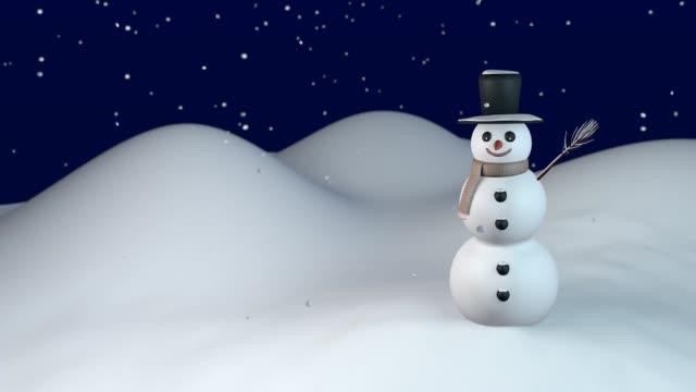 Smiling snowman on snowy winter night video