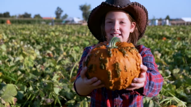 Smiling ten years old American farm girl looking at the camera wearing a cowboy hat Smiling caucasian ten years old American farm girl looking at the camera wearing a cowboy hat holding a pumpkin rancher stock videos & royalty-free footage