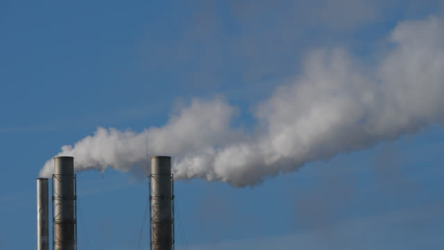 Smoke and air pollution from a paper factory,Biganos,Gironde, New Aquitaine, France.