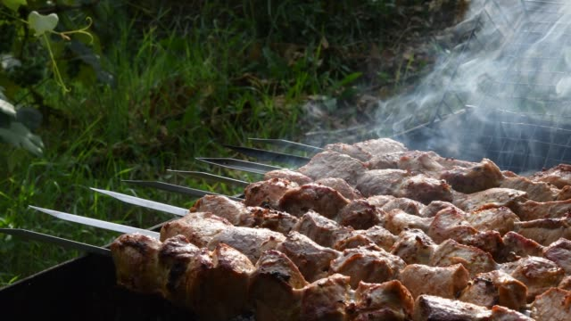 Smoke and smell over grilled pork meat on skewers at charcoal grill with green outdoor background with copy space