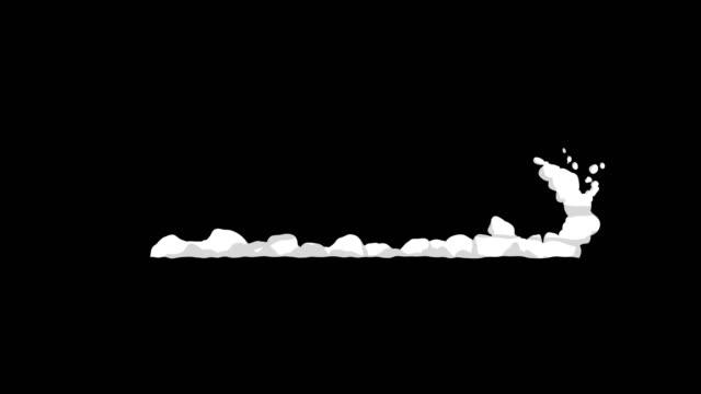 速い動きから煙のアニメーション。ゲームのアニメーション要素。漫画の蒸気雲。ループ黒のアニメーション。 - マンガ点の映像素材/bロール