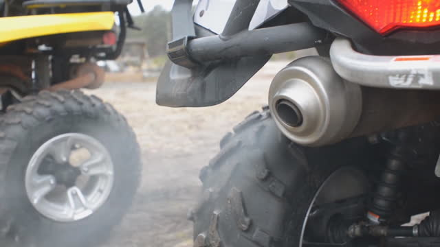 Smoke from the exhaust pipe of motorcycle. Air pollution.