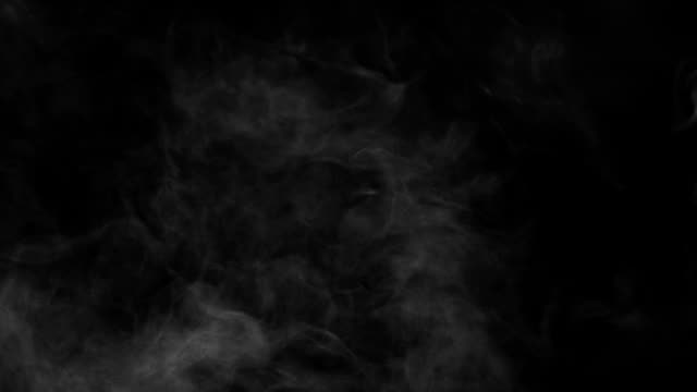 smoke levitating in front of black background - 霧 個影片檔及 b 捲影像