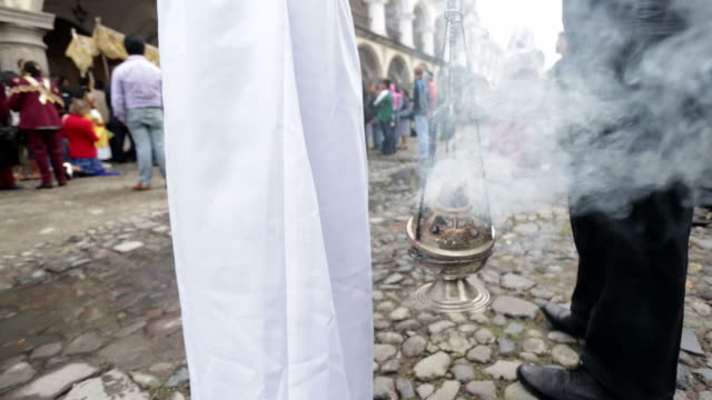 Smoke of incense on a thurible censer burner video