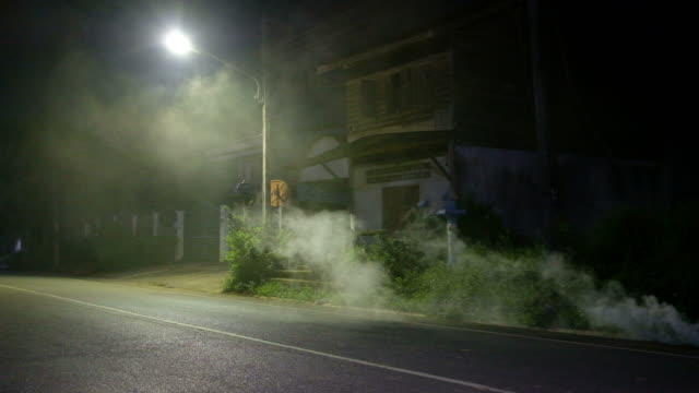 Smoke on street in dark place with old public abandoned house background in Thailand. Horror scene Movement of smoke on street in dark place with old public abandoned house background in Thai. Horror scene depression land feature stock videos & royalty-free footage