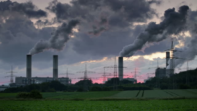 Smoke Stack Chimneys of a power station 笹 stock videos & royalty-free footage