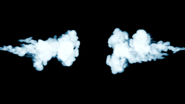 Smoke streams in slow motion. Isolated on black background with backlit and ready for compositing for visual effects. For transparency use mode screen. V30 video