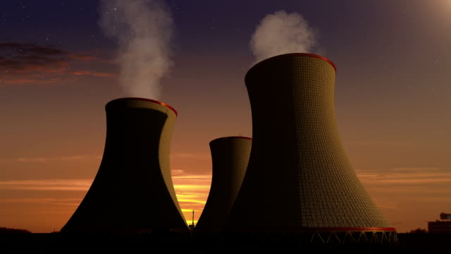Smoked cooling tower of nuclear power plant, thermal power plant, sunset view image. video