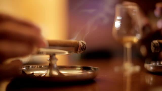 fumare un sigaro - sigaro video stock e b–roll