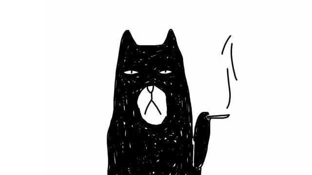 smoking cat - film animowany filmów i materiałów b-roll