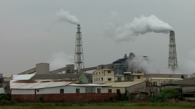 Smoking Chimney and Factories Polluting the Air video