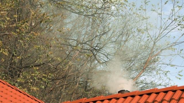stockvideo's en b-roll-footage met rokende schoorsteen op huis met bomen op achtergrond en blauwe hemel. concept natuurlijke verwarmingsmethode. concept van verontreiniging. concept oude manier van leven - christmas cabin