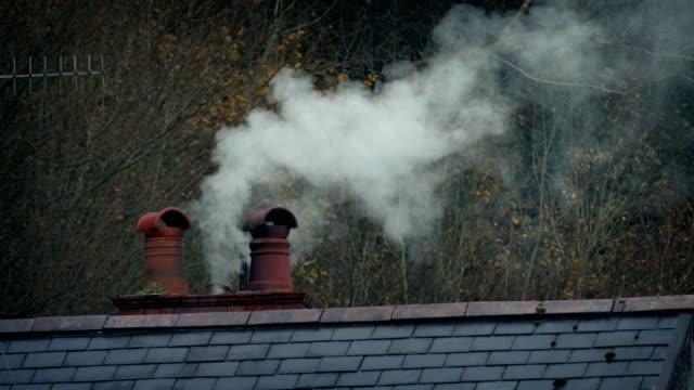 stockvideo's en b-roll-footage met rookvrije schoorsteen op huis met bomen op de achtergrond - schoorsteen