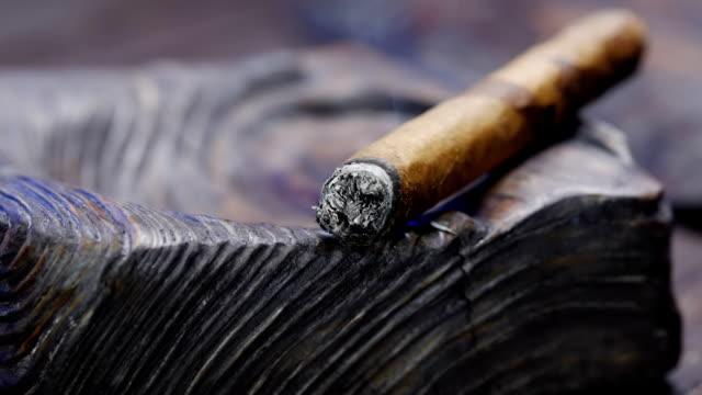 ahşap kül tablası içinde yasaktır puro - puro stok videoları ve detay görüntü çekimi