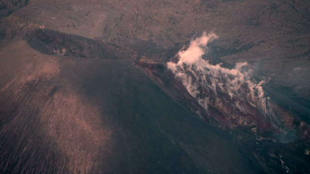 Smoking Volcano Barujari (Rinjani) Close-up video