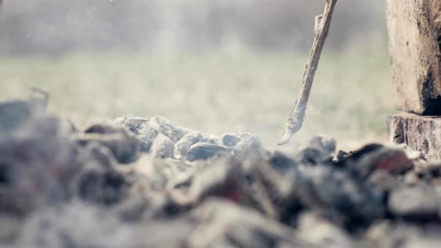 vídeos de stock e filmes b-roll de smouldering coals and smoke in campfire outdoor. closeup burning coal in bonfire - cinza