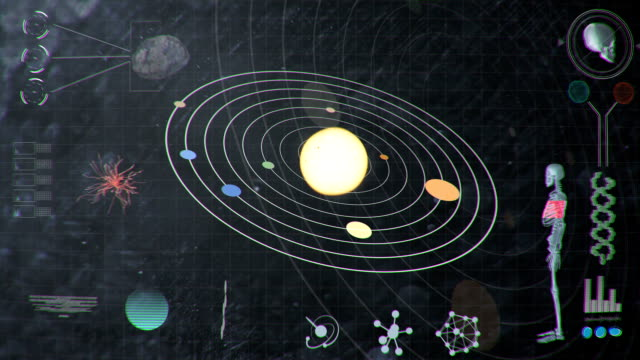Smudgy Dirty Futuristic HUD Analyzing Values of the Solar System and Human video