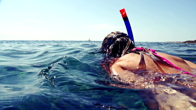 SLOW MOTION: Snorkeling on water surface SLOW MOTION: Snorkeling on water surface goosebumps stock videos & royalty-free footage