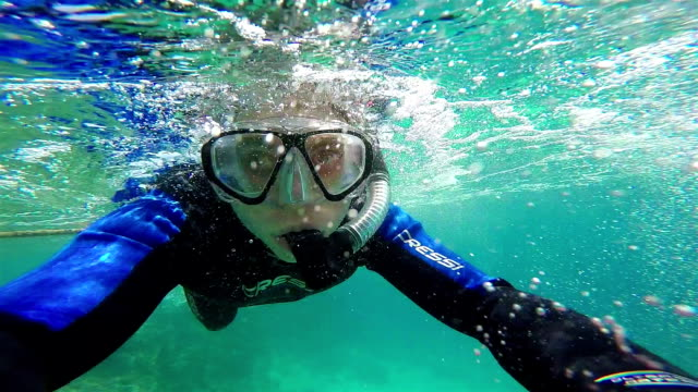 Snorkeling, Swimming in Water Bubbles. video