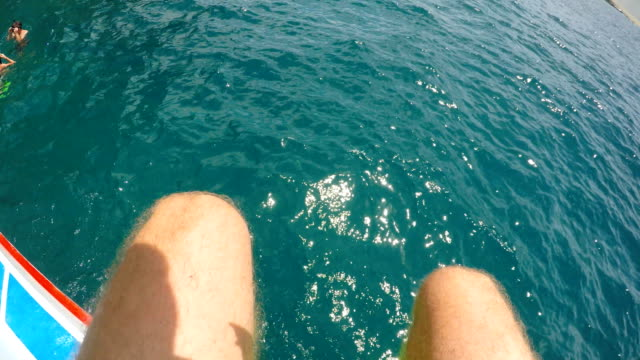 Snorkeling Diving of the boat and into the ocean angle stock videos & royalty-free footage