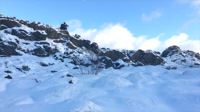 岩の壁に蓄積を雪で冬の国設定 - 石垣点の映像素材/bロール