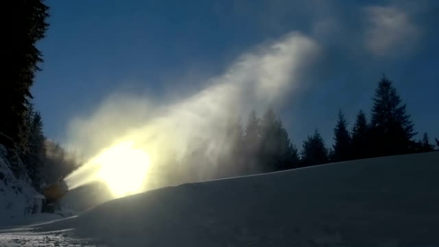 Snow cannon in a snow dust video