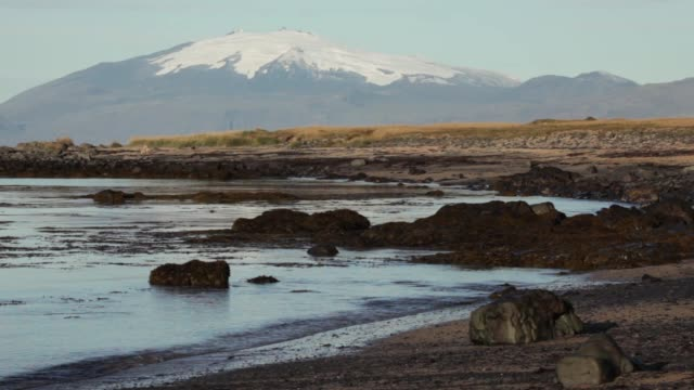 Snow capped Snaefellsnes National Park Faxafloi bay Snaefellsnes Peninsula Iceland video