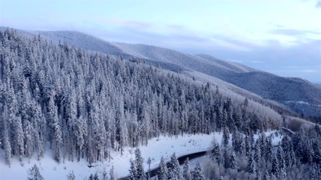 stockvideo's en b-roll-footage met sneeuw bedekte bergweg bij zonsondergang: santa fe, new mexico - sneeuwkap