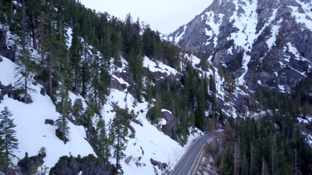 Snow covered mountain road video