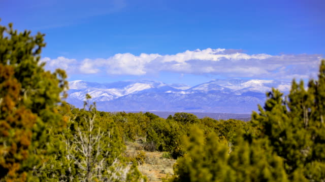 Snow covered mountains at sunset: Santa Fe, New Mexico