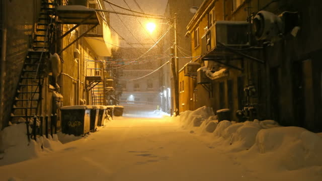 Snow Covered Urban Alleyway