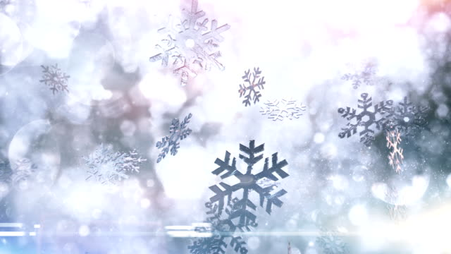 snow crystals falling (bright) - loop - snowflake background stock videos & royalty-free footage