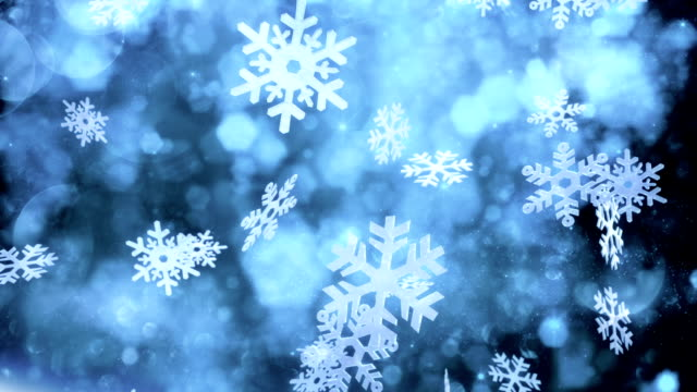 snow crystals falling (dark) - loop - snowflake background stock videos & royalty-free footage