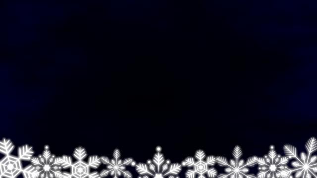 Snow crystals top bottom frame 2 pattern dark background