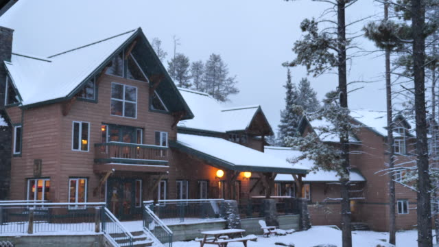 Snow falling on the winter house in Winter