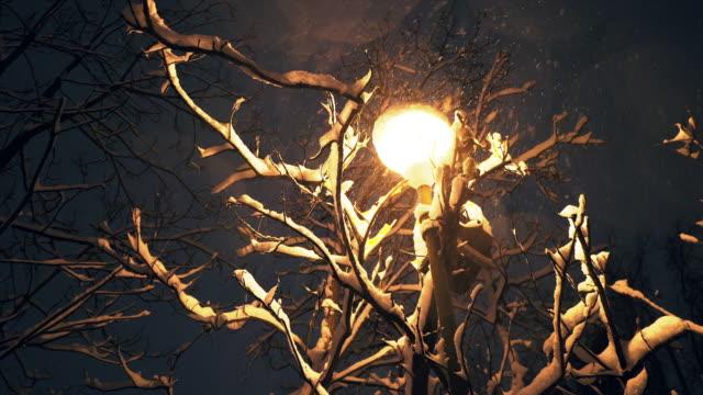 snön faller över gatan lykta i natt. - cold street bildbanksvideor och videomaterial från bakom kulisserna