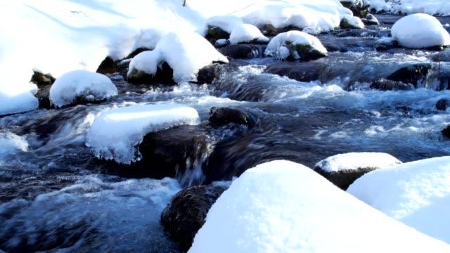 雪の降る北海道森林小川 - 氷点の映像素材/bロール