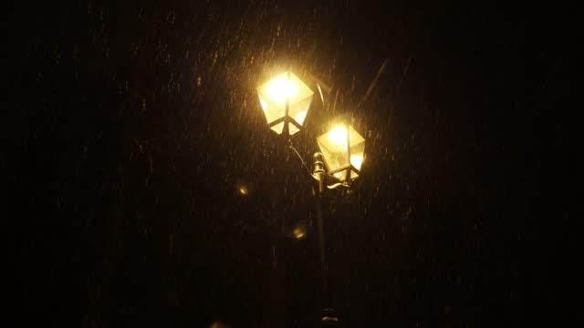 snow falls night. - stile del xix secolo video stock e b–roll