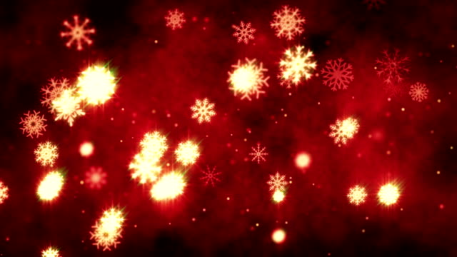 Snow flakes christmas background in Red video