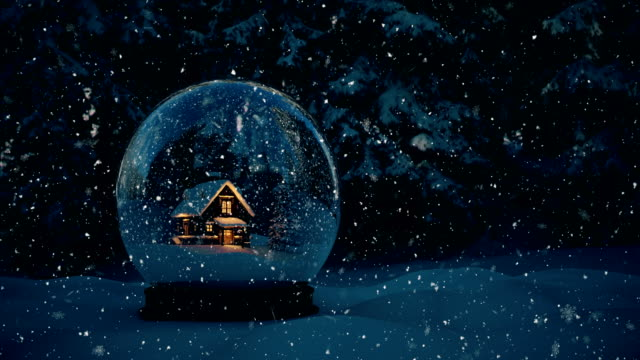 Snow Globe - 4K | Loopable Christmas Snow Globe Animation 4096x2160 holiday stock videos & royalty-free footage