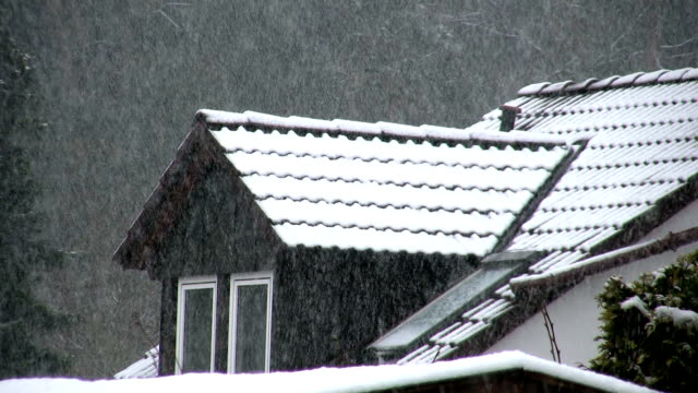 Snow in the evening HD 1080 A lot of snow is falling down in front of a house. HD 1080i bay window stock videos & royalty-free footage