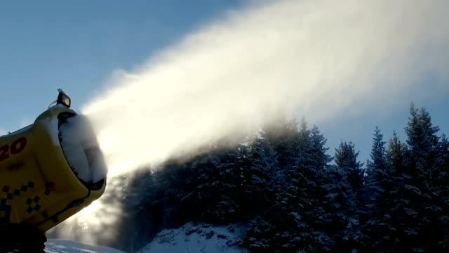 Snow Making System In Mountain On The Ski Hill In Winter, SLOW MOTION video