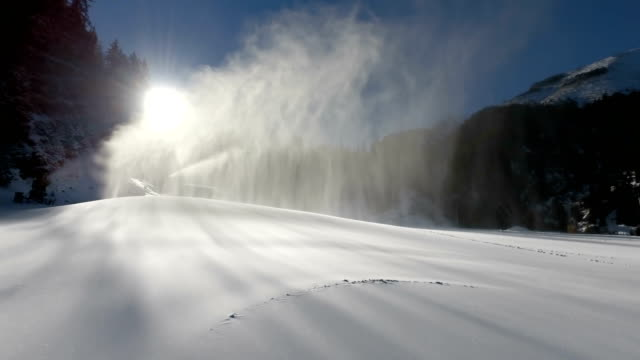 Snow Making System In Mountain On The Ski Hill In Winter video
