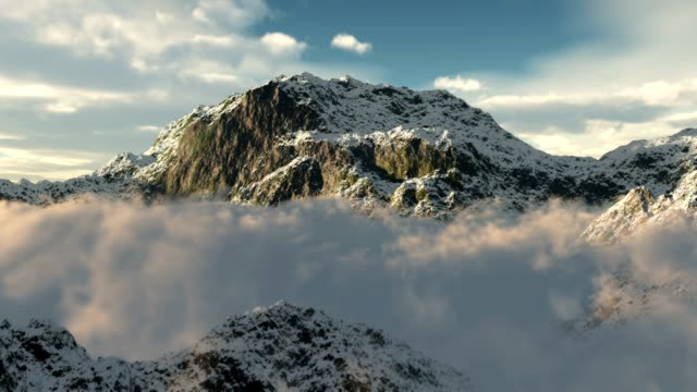 Snow Mountains Clouds Winter Wilderness Climbing Peaks video