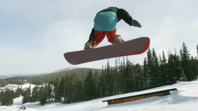 A Snowboarder in Full Winter Gear Completes Multiple Tricks (